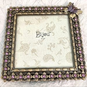 4x4 Bejeweled Metal Photo Frame Butterfly